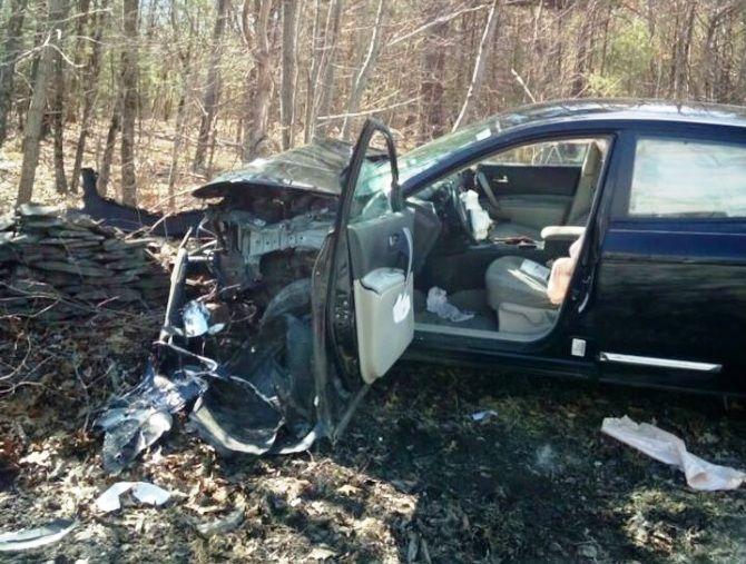 El auto tras la colisión