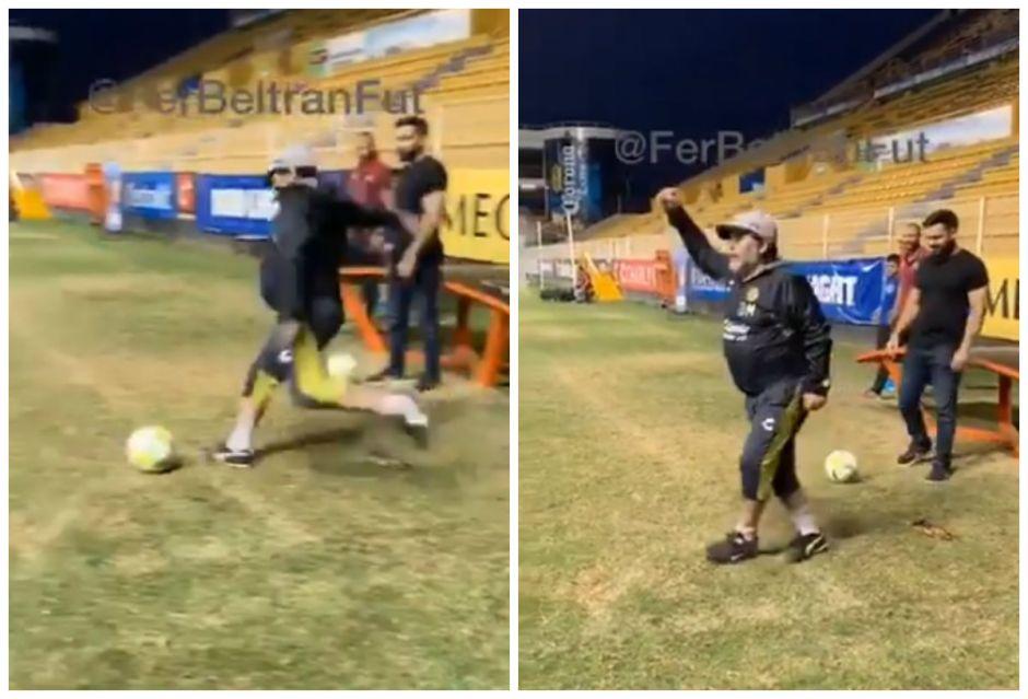 """""""¡Venga, papá!"""": el gol olímpico de Diego Maradona a sus 58 años"""