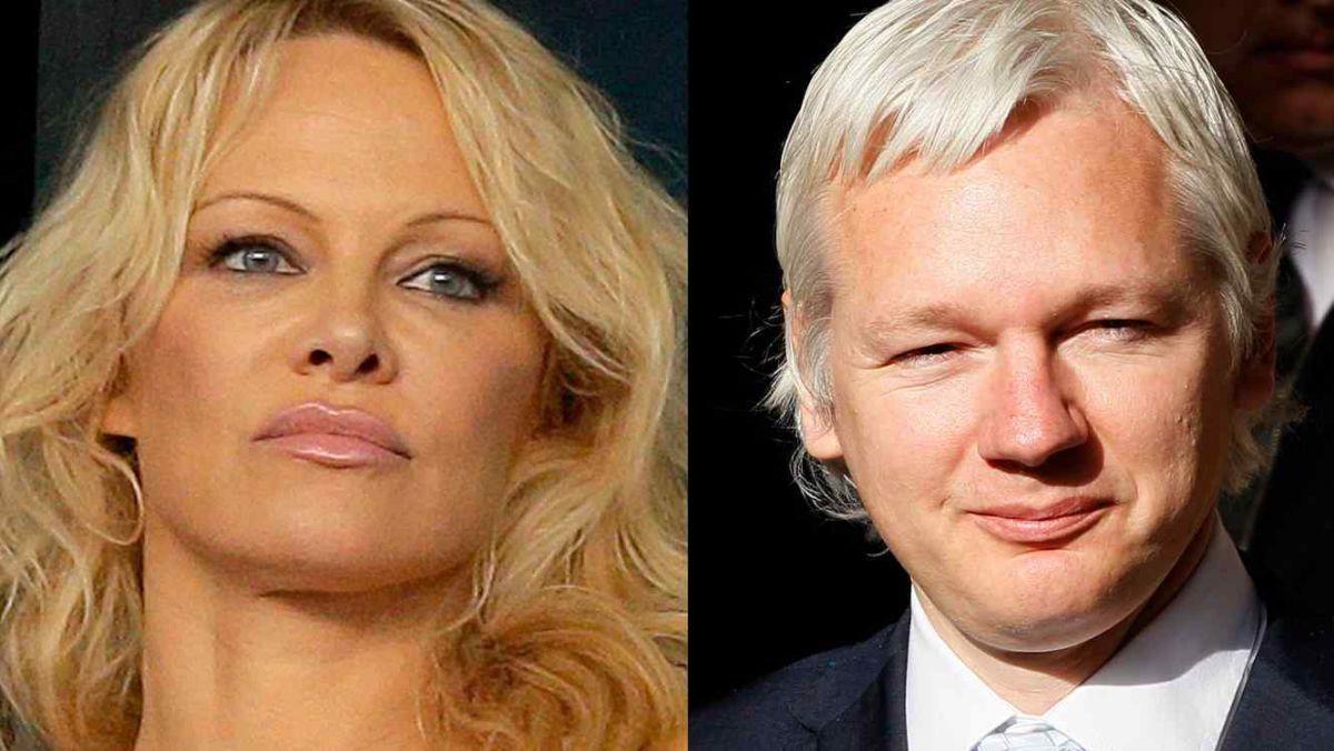 La actriz Pamela Anderson, izq., y el fundador de Wikileaks, Julian Assange, en una fotografía combinada.