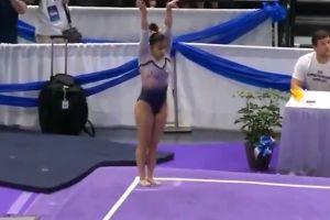 Impactante: La gimnasta Samantha Cerio se rompió las dos piernas en ejercicio de piso (imágenes sensibles)