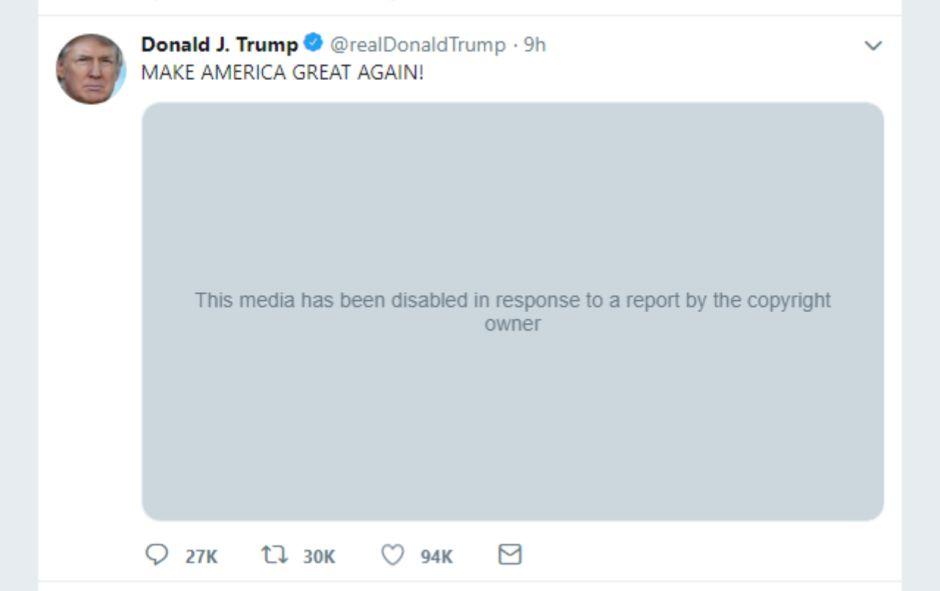 Twitter elimina un video de Trump con música de The Dark Knight por infracción de derechos de autor