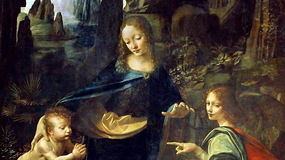"""A la izquierda del cuadro """"La Virgen de las Rocas"""", de Leonardo Da Vinci, hay unas palmas que podrían ser un símbolo subversivo."""