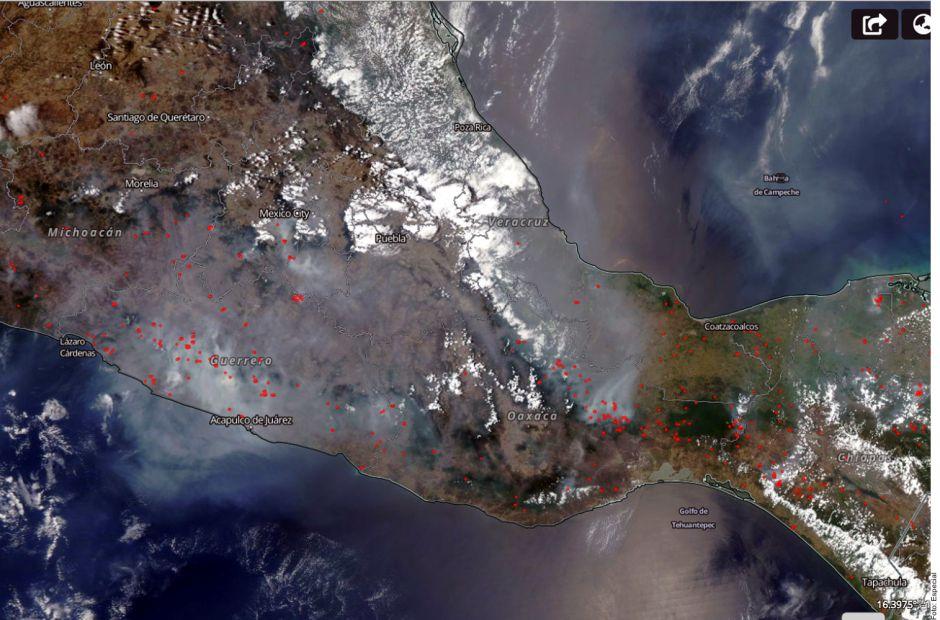 La NASA capta imagen de los incendios forestales y contaminación en México
