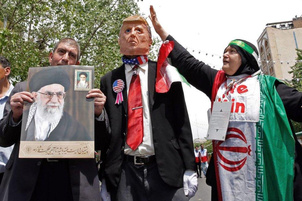 Protesta contra Donald Trump en Teherán en 2019.