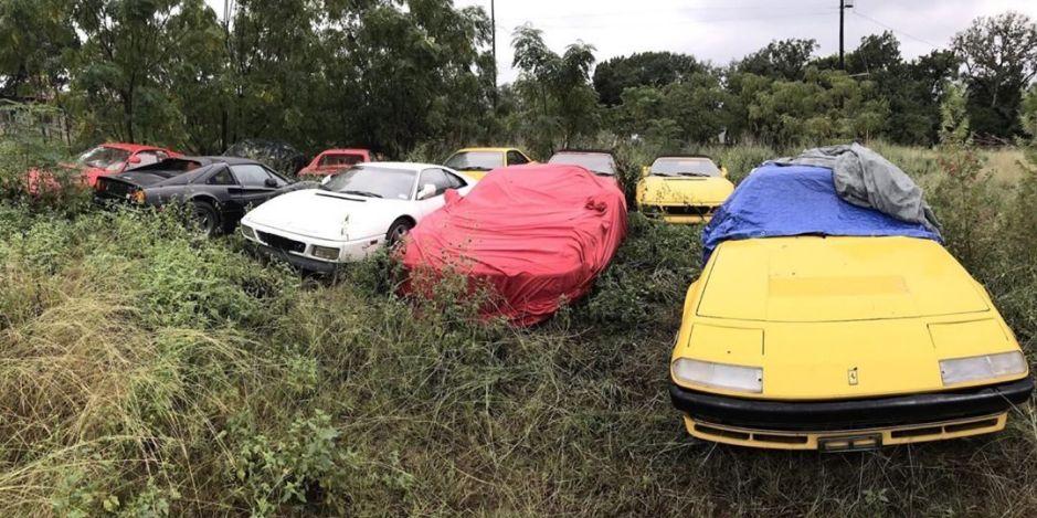 Coleccionista hereda terreno lleno de Ferraris a su familiares
