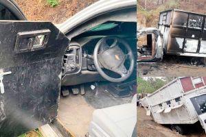Camionetas monstruo y arsenal decomisado tras balacera de 16 horas en México