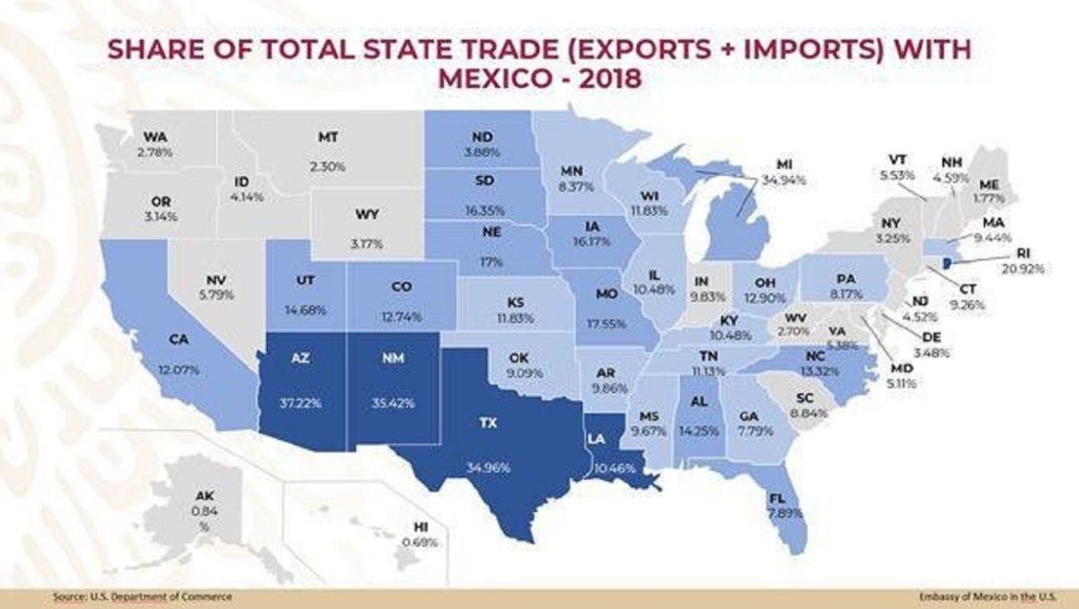 Los 10 estados de EEUU que serían más afectados por los aranceles de Trump a México