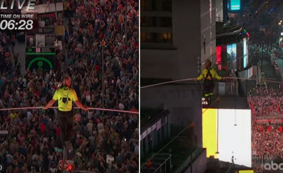 Video desde las alturas: Así cruzaron los hermanos Wallenda Times Square sobre un cable