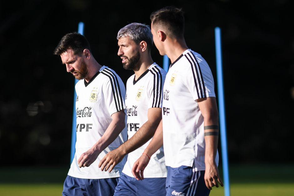 Agüero, Dybala y Messi en entrenamiento de Argentina