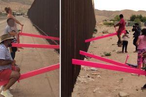VIDEO: Migrantes se balancean en sube y baja de la valla fronteriza