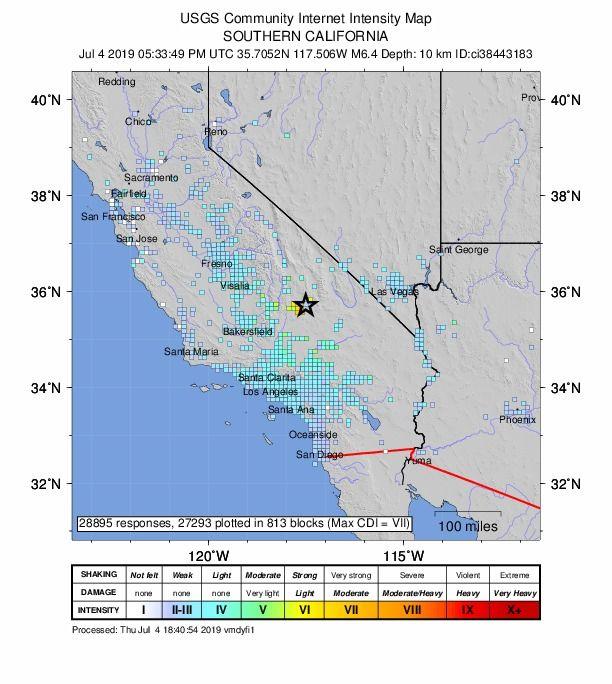 Sismo en California este 4 de Julio es el más potente registrado desde el 1994