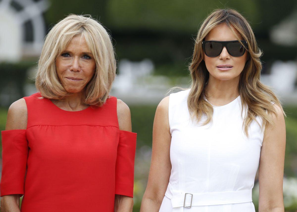 Las primeras damas Brigitte Macron y Melania Trump.