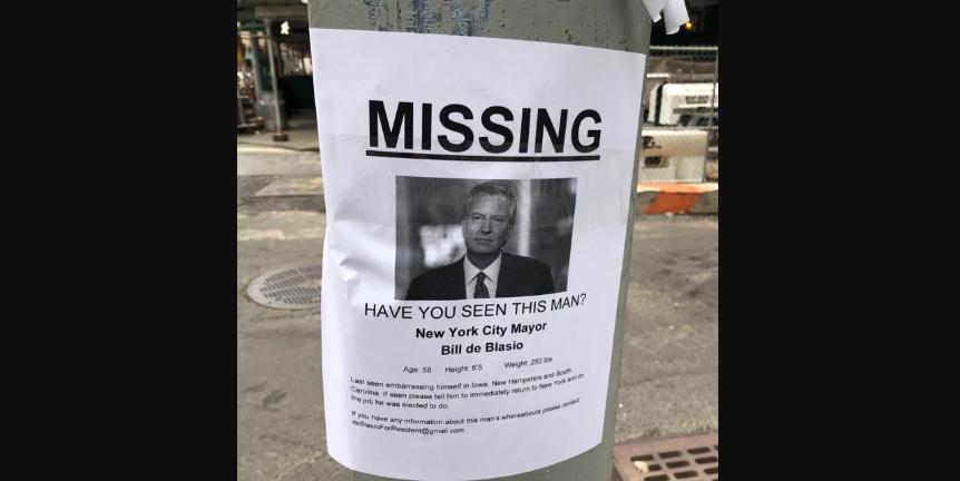 """Declaran """"desaparecido al alcalde Nueva York"""" por sus ausencias"""