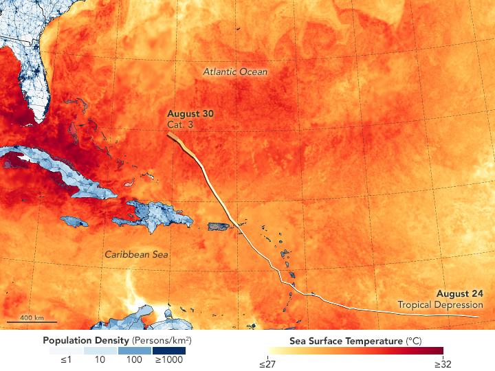 El mapa muestra la temperatura de la ssuperficie del mar el 28 de agosto de 2019. Joshua