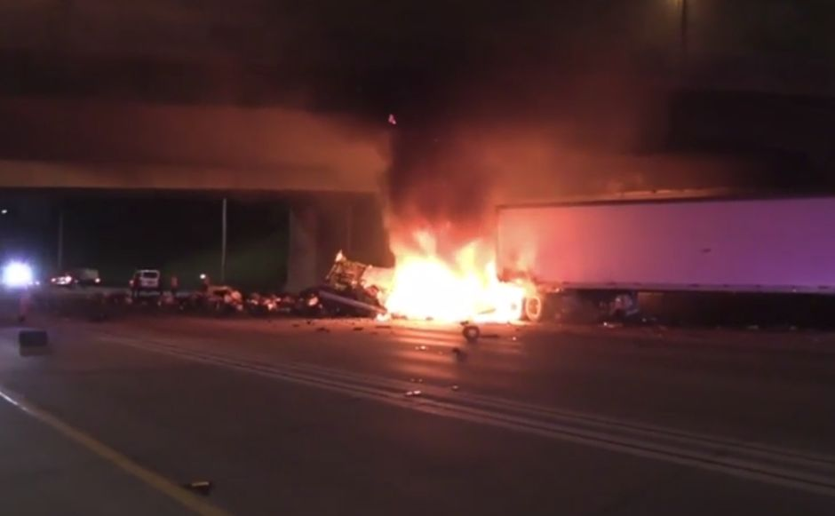 Accidente I-5: Camión incendiado cerró varios carriles en Anaheim
