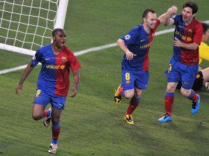 Messi, Iniesta y Rafa Márquez despiden a Samuel Eto'o