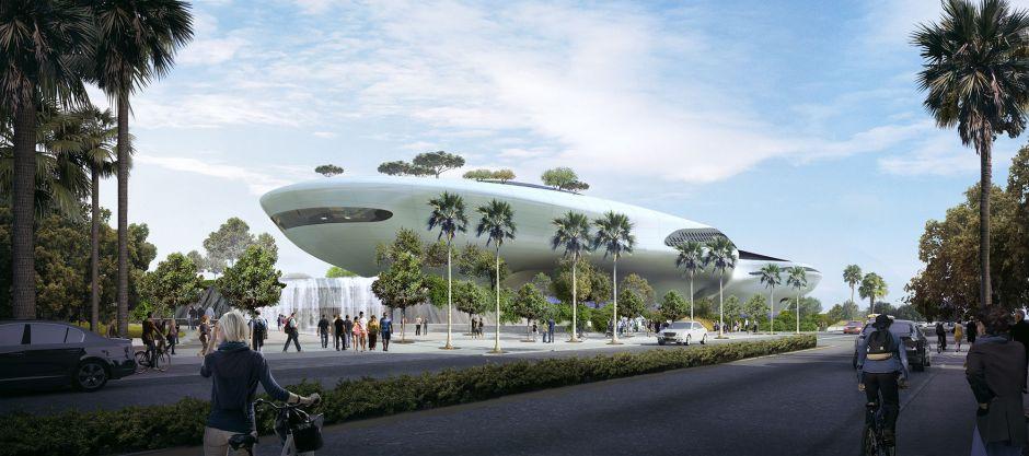 George Lucas y Eric Garcetti visitan la construcción del museo del director de cine en Exposition Park