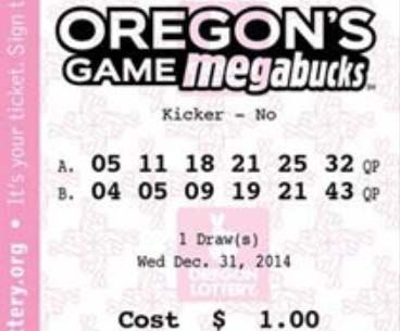 Un boleto del Megabucks.