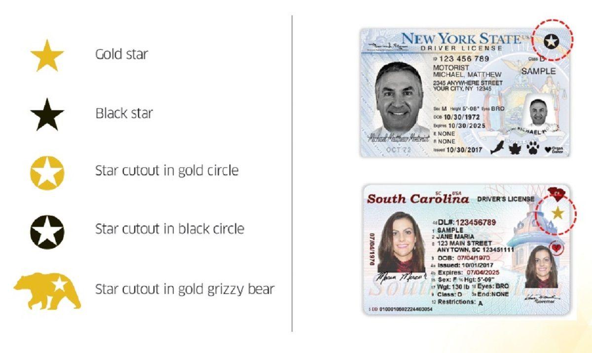 La estrella en la parte superior de la licencia podría ser impresa en cinco formas distintas.