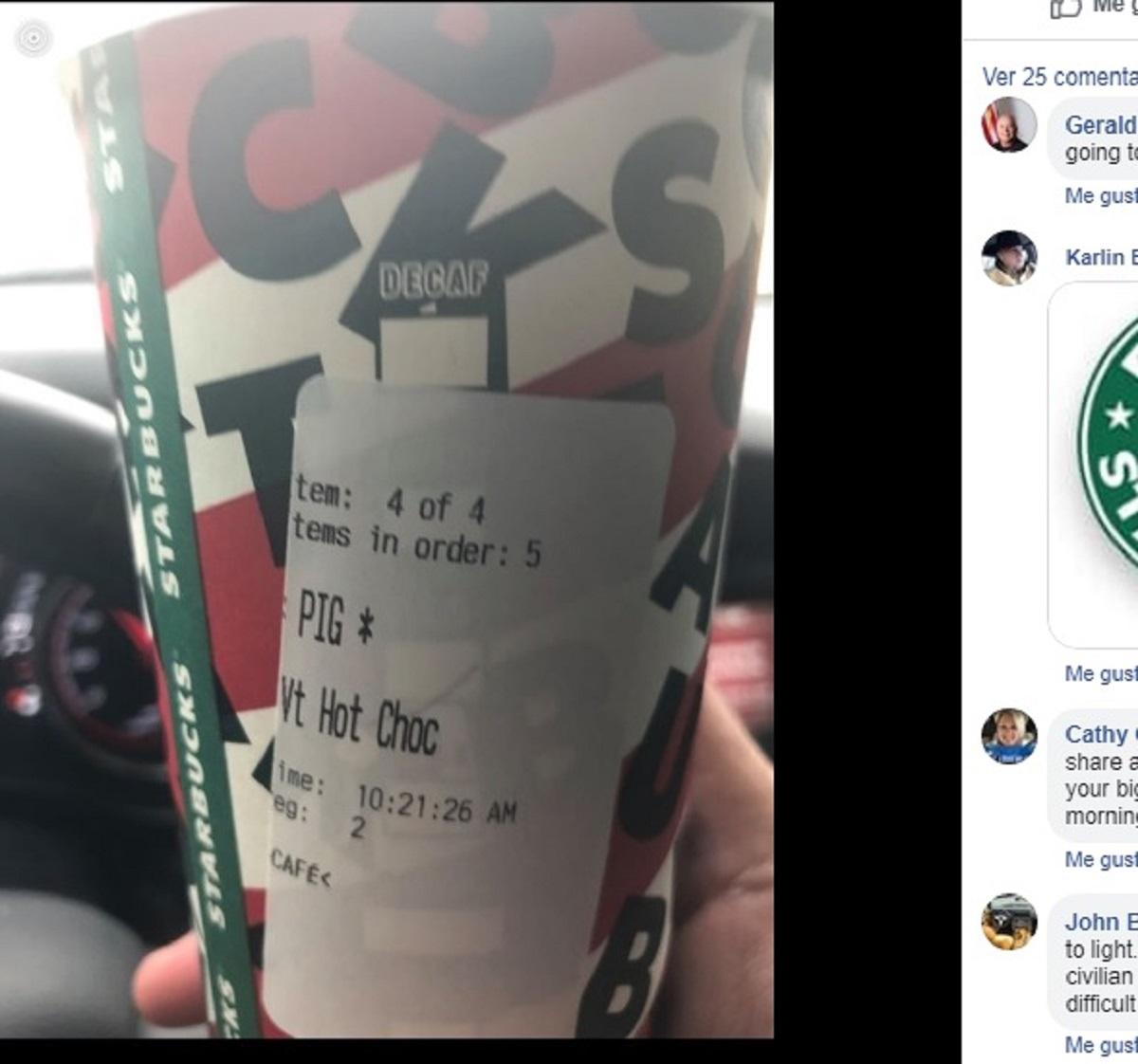 """Policía recibe café de Starbucks con etiqueta de """"cerdo"""", despiden al responsable"""