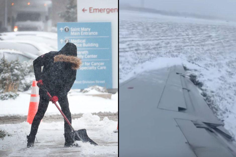 Récord de nieve en Chicago. Avión resbala en una pista congelada