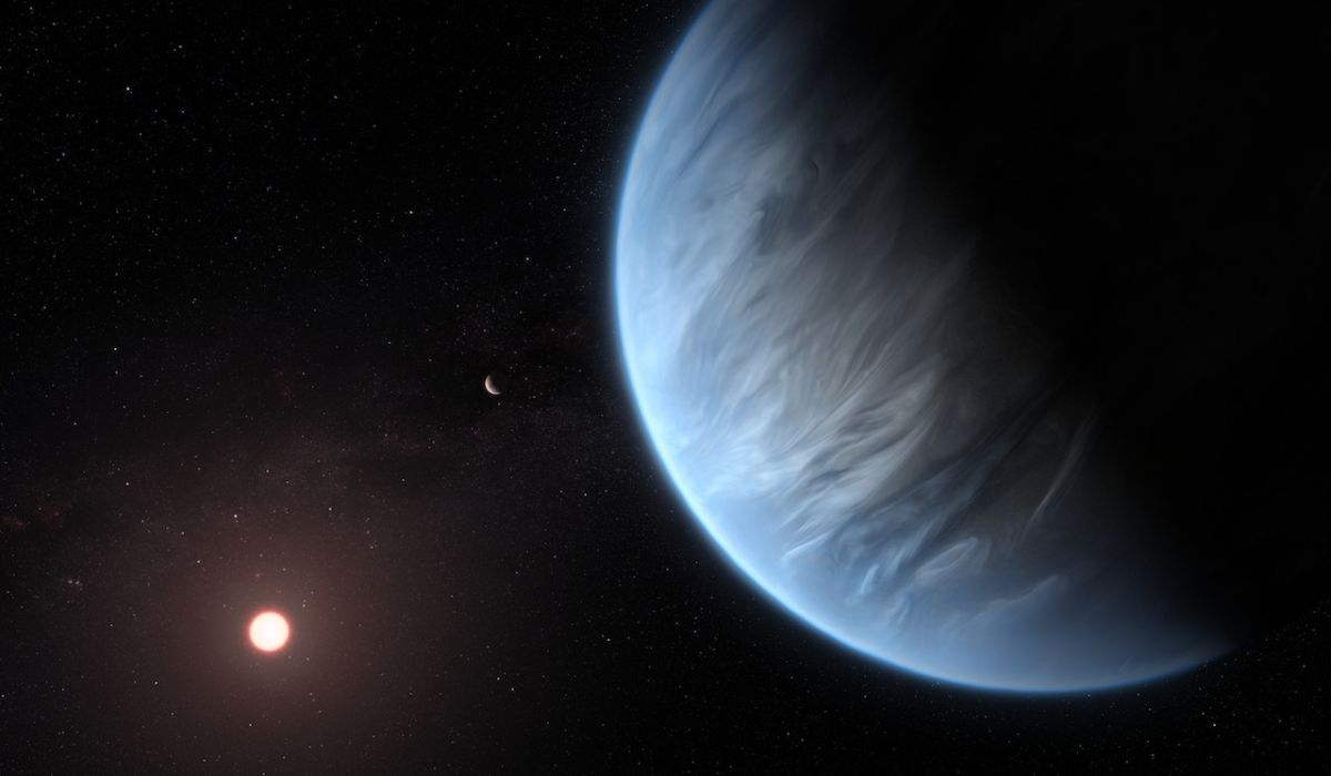 La impresión de este artista muestra el planeta K2-18b, es la estrella anfitriona y un planeta acompañante en este sistema.