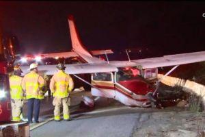 ¡Cae avioneta sobre la carretera 5! Realizan aterrizaje forzado en el área de Los Ángeles