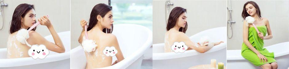 6 cepillos con mango largo para estimular la circulación en tus piernas mientras te duchas
