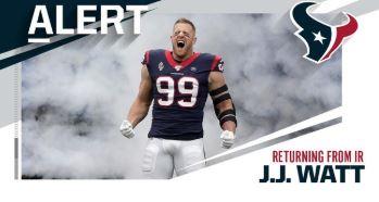 """Un regalo de Navidad para la afición de los Texans; J.J. Watt listo para jugar en los """"playoffs"""""""