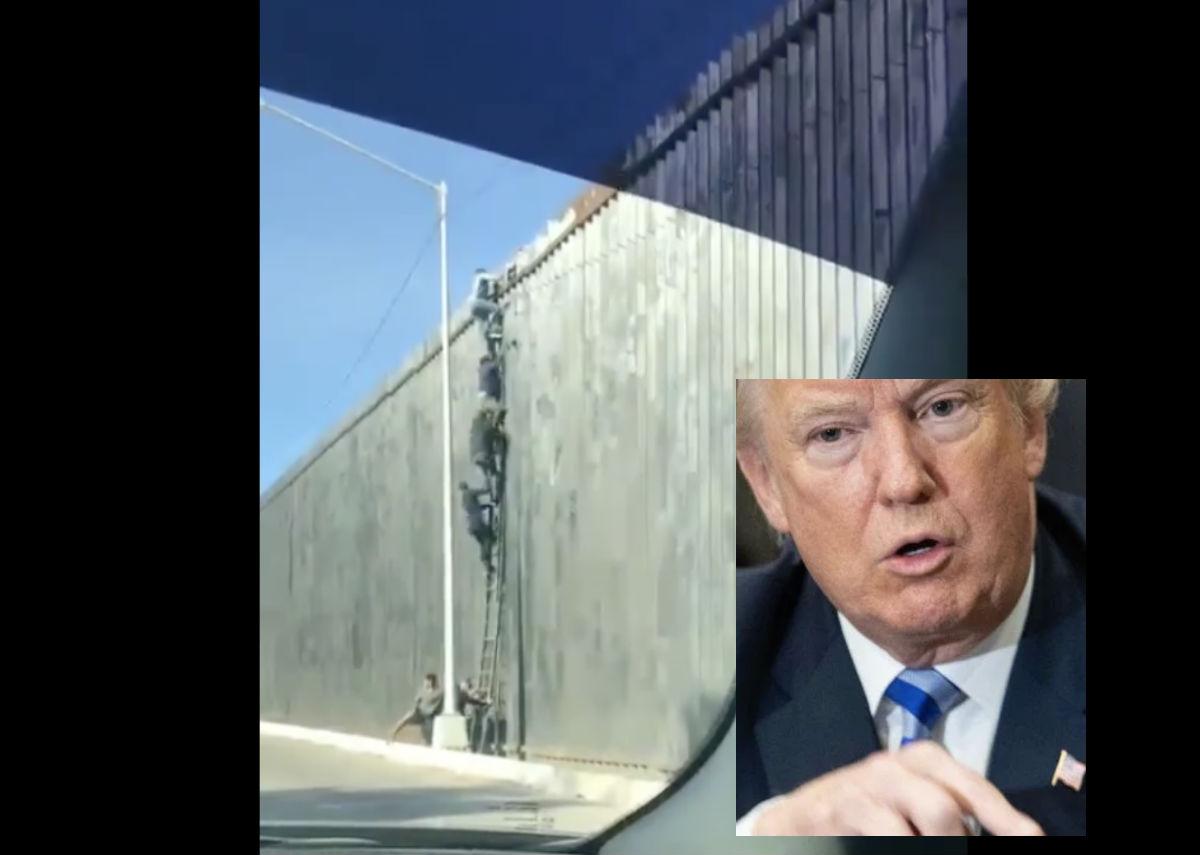 VIDEO: Migrantes cruzan muro fronterizo con escalera, cuestionan el impulsado por Trump