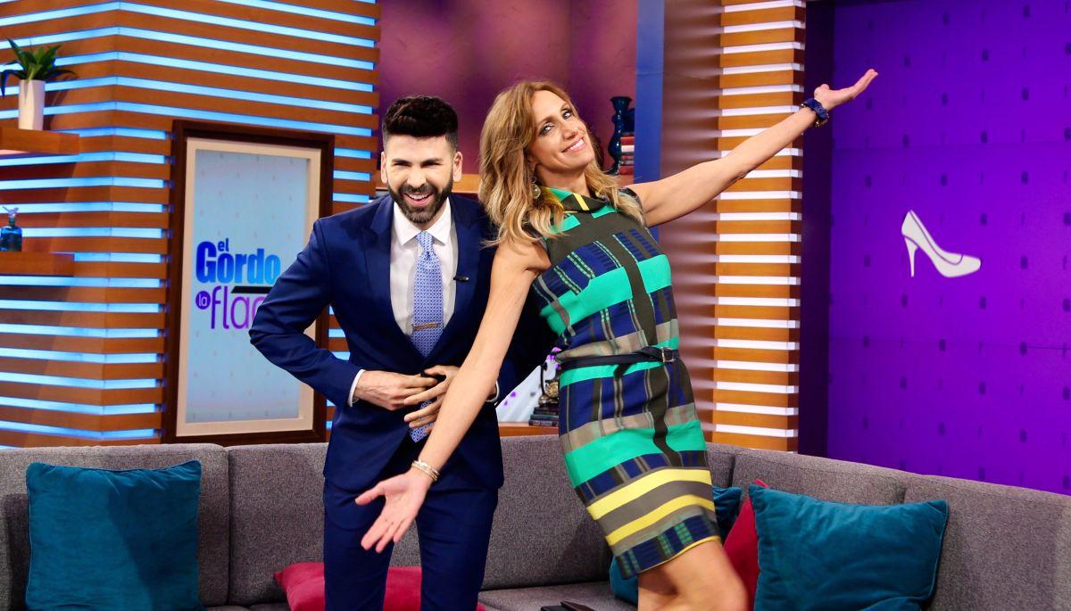 Jomari Goyso junto a Lili Estefan en El Gordo y la Flaca de Univision.