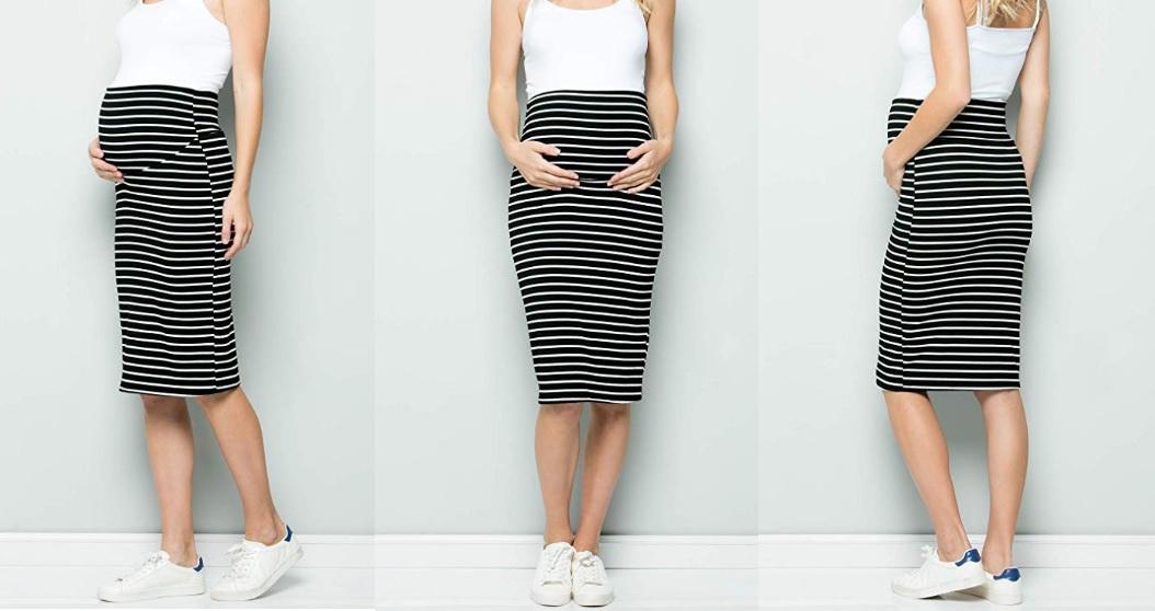 Variedad de faldas y pantalones con cintura elástica para estar siempre cómoda durante el embarazo