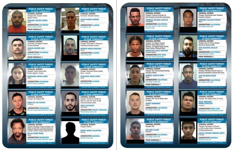 La agencia publicó ejemplos de decenas de inmigrantes liberados.