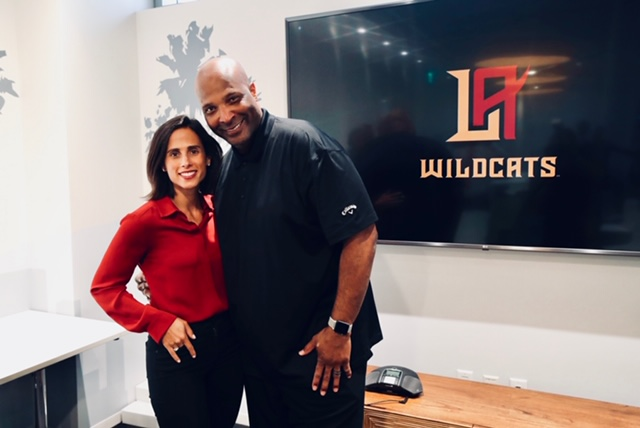 La presidenta Heather Brooks y el coach Winston Moss. /LA Wildcats/XFL