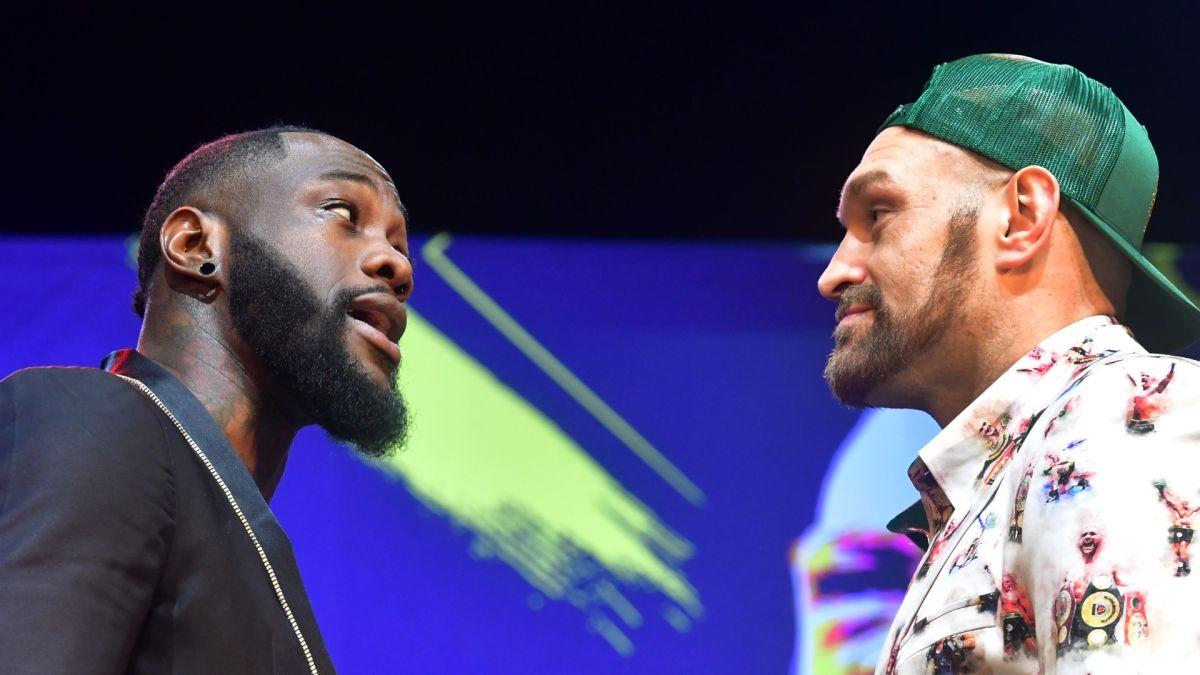 Deontay Wilder y Tyson Fury durante la conferencia en la que presentaron su pelea.