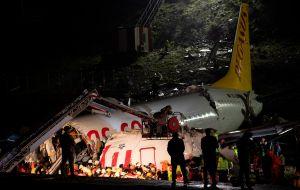 Videos: El trágico momento en el que avión turco con 177 pasajeros se parte en tres