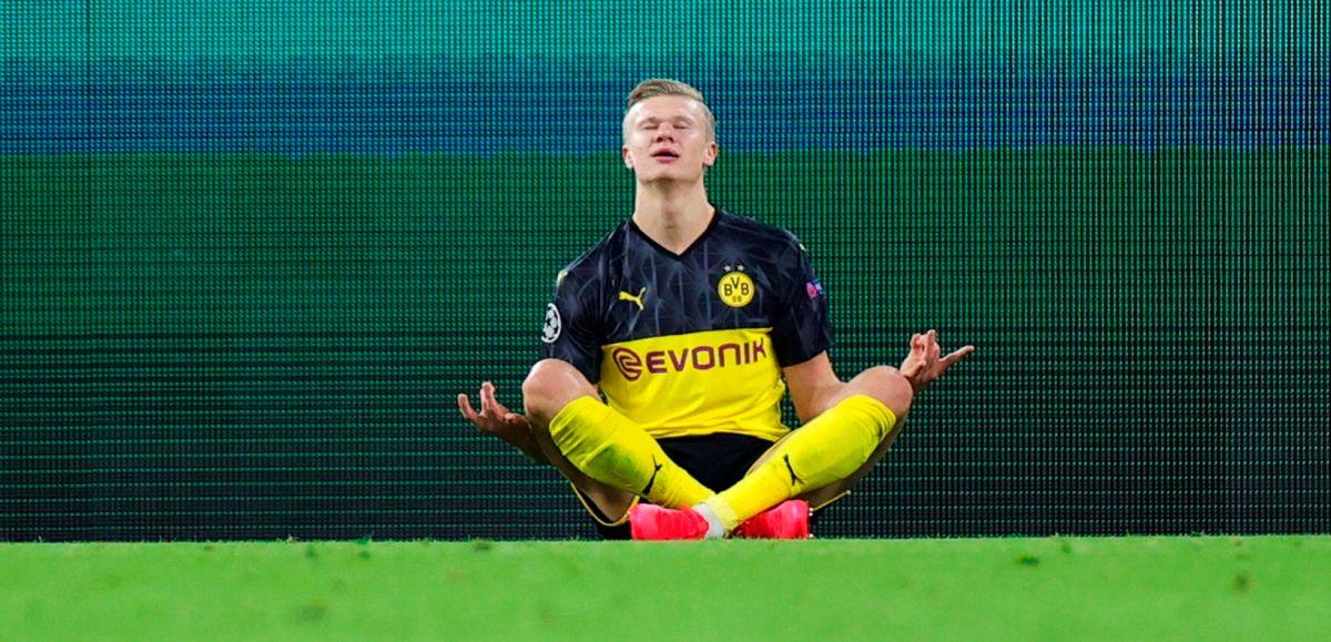 Erling Braut Haaland celebra uno de sus goles que lo tienen como máximo anotador de la Champions League.