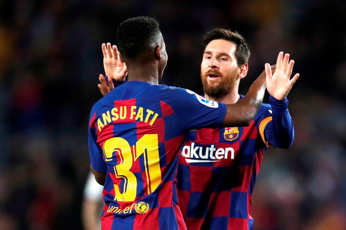 Ansu Fati y Leon Messi se combinaron para dos goles en Valencia.