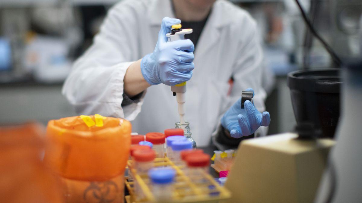 Un especialista de la salud trabaja en la realización de pruebas en un laboratorio.