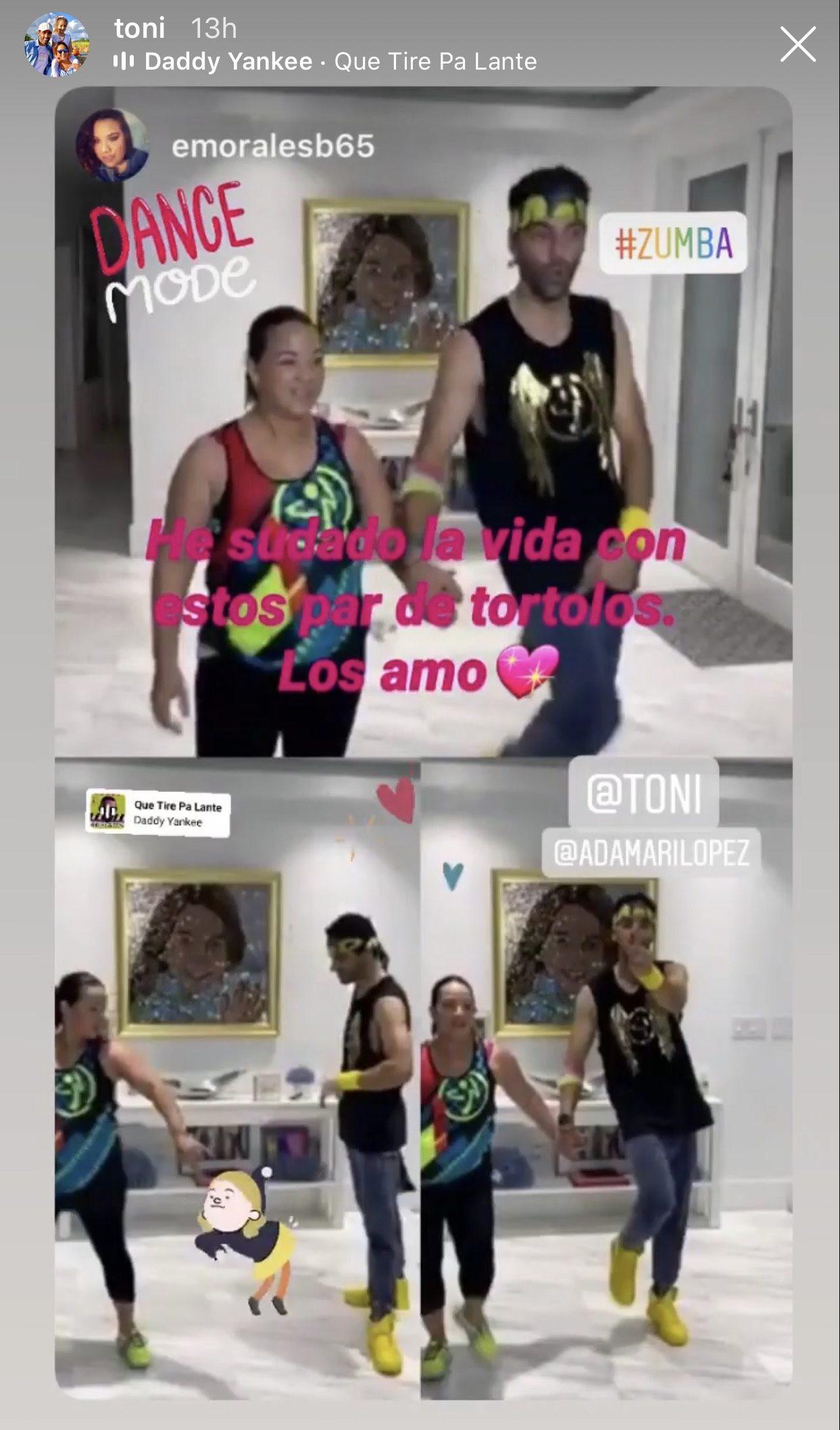 Toni Costa y Adamari López/Captura de historias de Instagram.