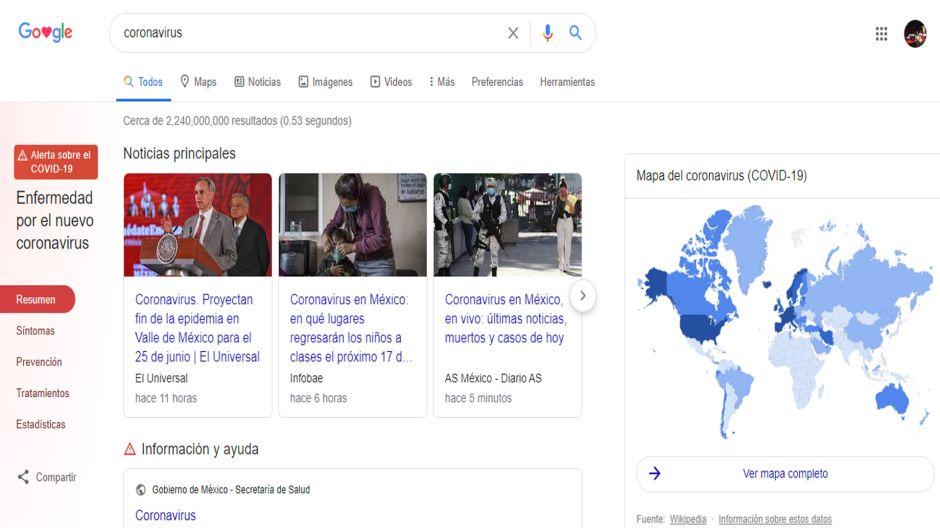 El buscador de Google cambia su diseño para mostrar información sobre el coronavirus