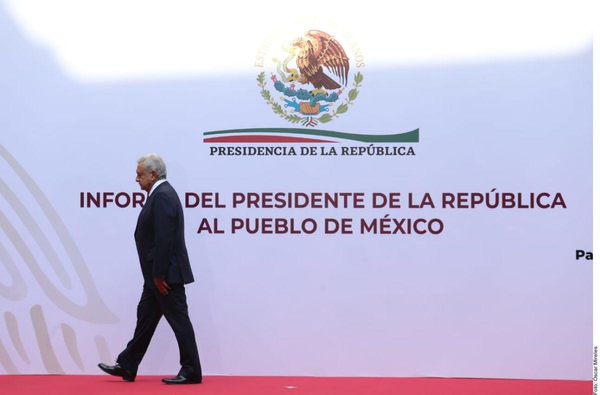El presidente de México, Andrés Manuel López Obrador durante su más reciente informe trimestral.