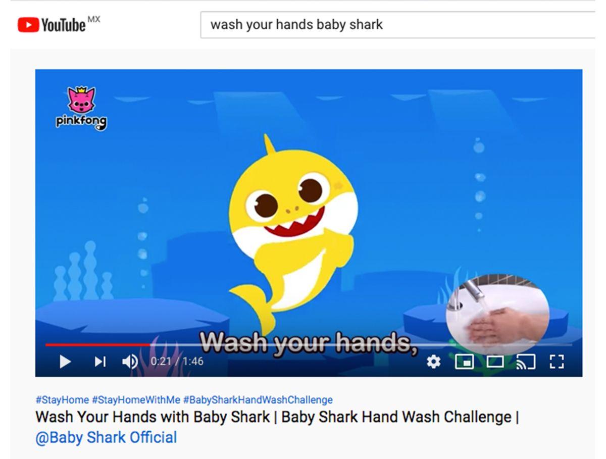 El llamado #BabySharkHandWashChallenge se une a las labores de prevención mundial contra Covid-19.