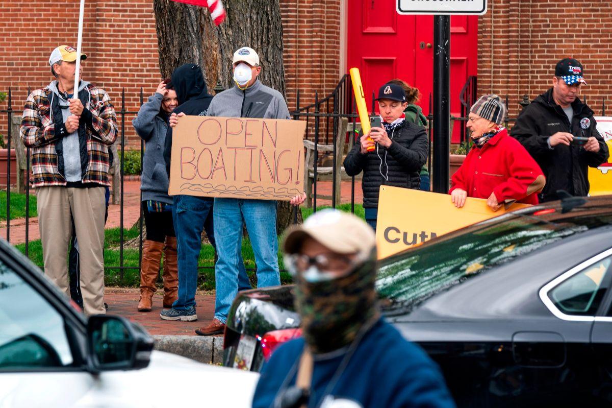 Una protesta del grupo 'Reopen Maryland' en Annapolis, Maryland.