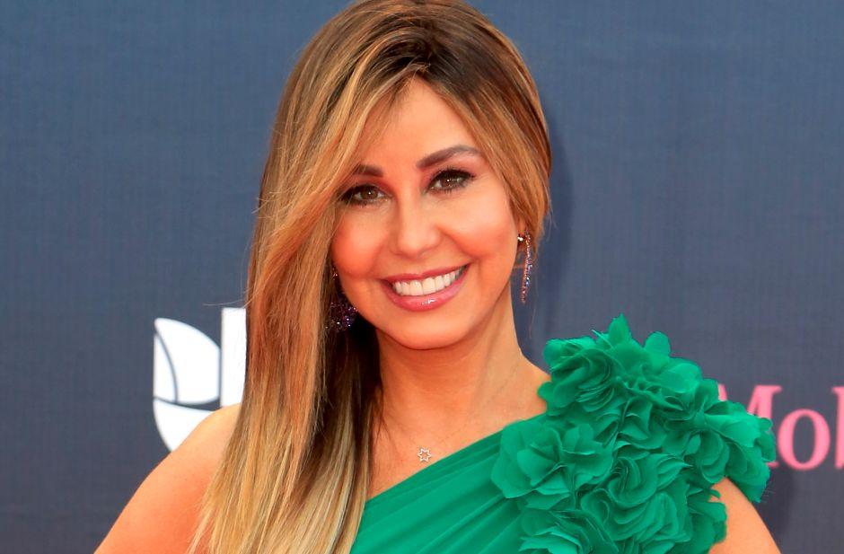 Con un elegante vestido Myrka Dellanos expuso en Telemundo su pequeña cintura