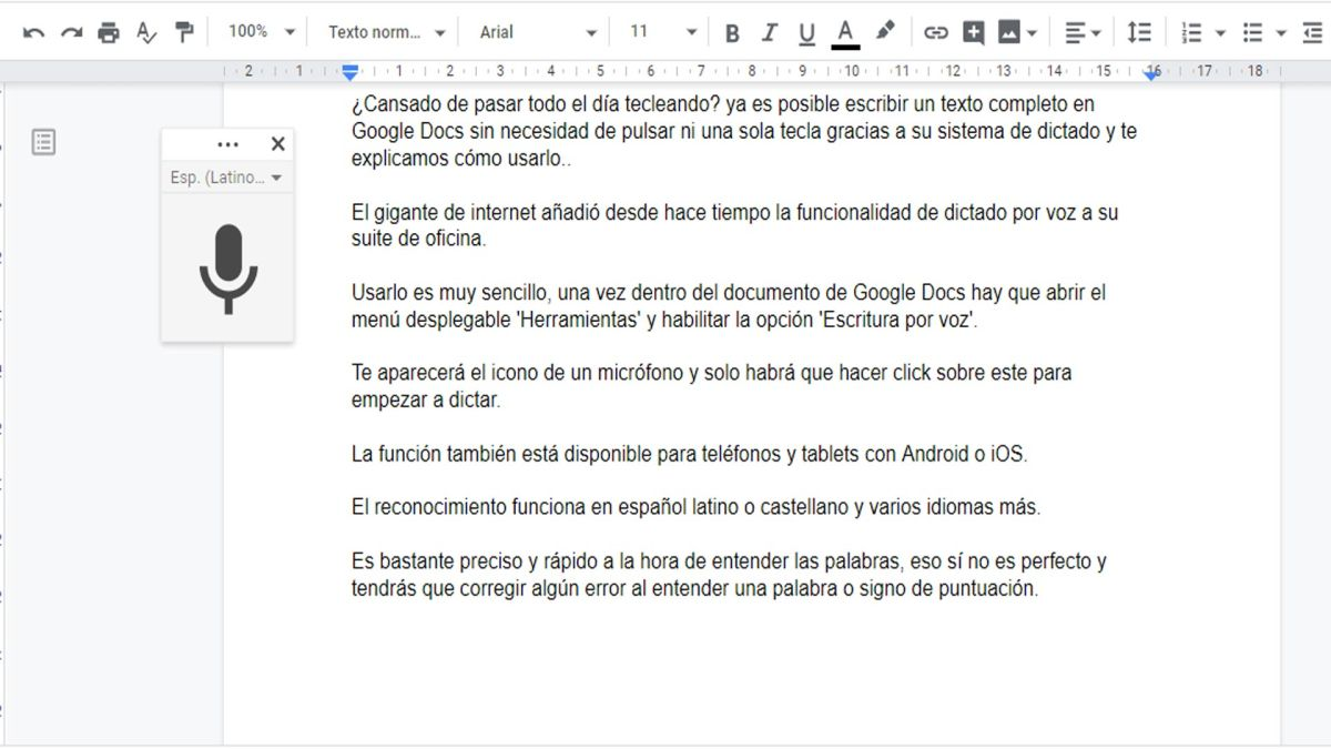Truco: Crea un texto en Google Docs sólo dictando