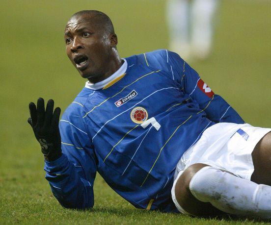 Edwin Congo en un partido con la selección de Colombia.