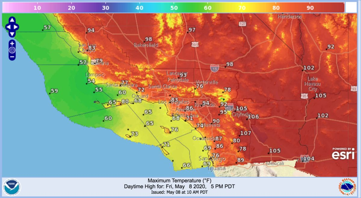 Pronóstico del Servicio Nacional del Clima de Los Ángeles para este viernes 8 de mayo de 2020.