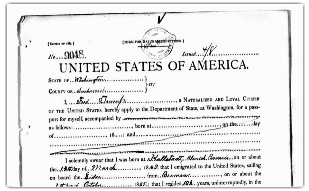Solicitud de pasaporte del abuelo de Trump