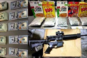 Lo que enviaban por paquetería: armas de fuego, dinero oculto en revistas y droga en cajas de cereal